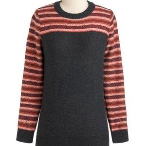 ModCloth Charcoal Gray & Geometric Striped Sweater